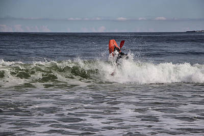 Photograph - Kayaker Breaches A Wave At Popham by Sandra Huston