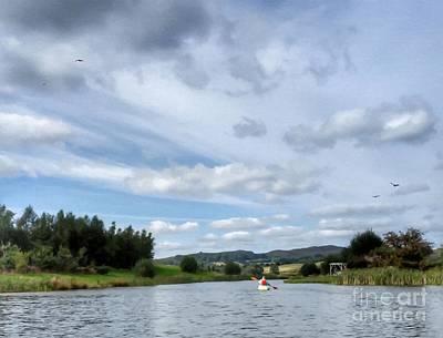 Mixed Media - Kayaking by Abbie Shores