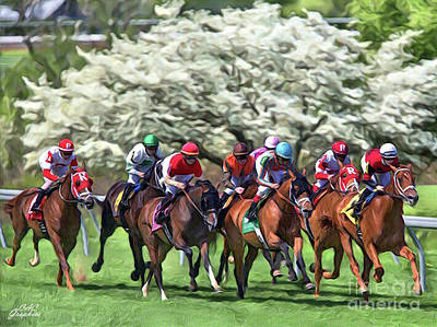 Keeneland Down The Stretch Art Print
