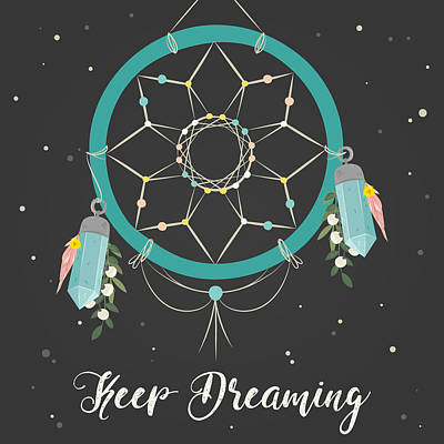 Digital Art - Keep Dreaming - Boho Chic Ethnic Nursery Art Poster Print by Dadada Shop