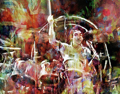 Musicians Mixed Media Royalty Free Images - Keith Moon Royalty-Free Image by Mal Bray