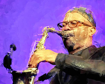 Jazz Mixed Media Royalty Free Images - Kenny Garrett, jazz musician Royalty-Free Image by Mal Bray