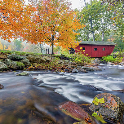 Photograph - Kent Falls Autumn 2018 Square by Bill Wakeley