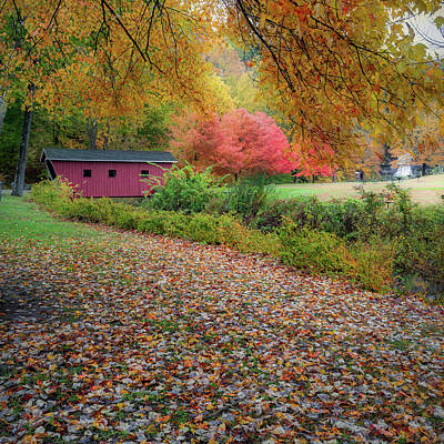 Photograph - Kent Falls Covered Bridge Square by Bill Wakeley
