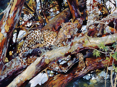 Camo Wall Art - Painting - Kenyan Leopard by Odile Kidd