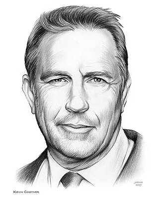 Musicians Drawings Rights Managed Images - Kevin Costner Royalty-Free Image by Greg Joens