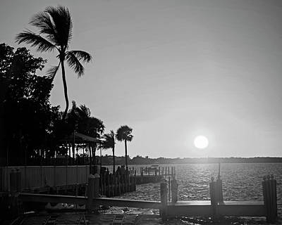 Photograph - Key Largo Florida Sunset Pier Black And White by Toby McGuire