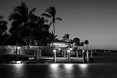 Photograph - Key Largo Pier Dusk Florida Black And White by Toby McGuire