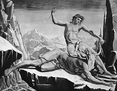 Minotaur Wall Art - Photograph - Killing The Minotaur by Hulton Archive