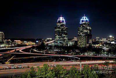 Photograph - King And Queen Buildings At Night Atlanta Ga 1 by Sanjeev Singhal