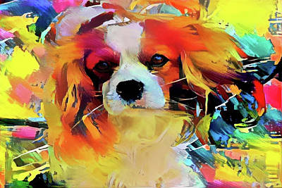 Mixed Media - King Charles Spaniel On The Move by Peggy Collins