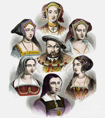 Painting - King Henry Viii Of England And His Six Wives by English School