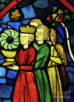 Glass Art - King Louis Ix Carrying The Crown Of Thorns by French School