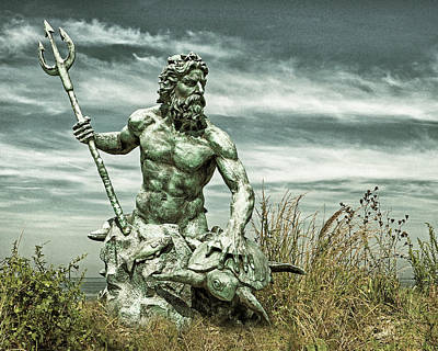 Photograph - King Neptune Guards The Cape Charles Beach by Bill Swartwout Photography