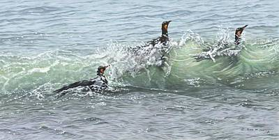 Painting - King Penguins Swimming In The Waves by Alan M Hunt
