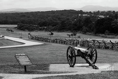 Photograph - King William Artillery Marker In Black And White Gettysburg by James Brunker