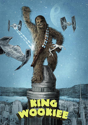 Blue Drawing - King Wookiee by Eric Fan