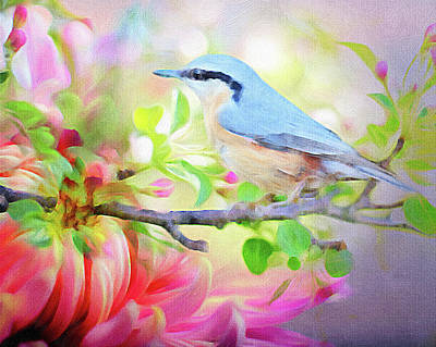 Mixed Media - Kingfisher In Spring Blossom by Clive Littin