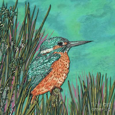 Digital Art - Kingfisher by Lotti Brown
