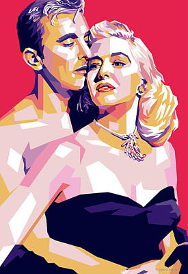 Coy Fish Michael Creese Paintings - Kirk Douglas and Marilyn Maxwell by Stars on Art