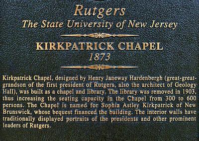 Photograph - Kirkpatrick Chapel - Commemorative Plaque by Allen Beatty