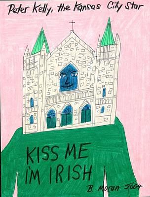 Drawing - Kiss Me I'm Irish by Barb Moran