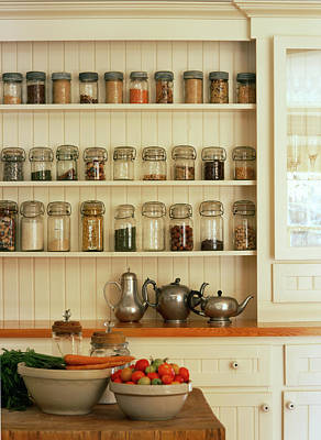 Jar Photograph - Kitchen With Jars Of Spices On Wall by Virginia Macdonald Photographer In