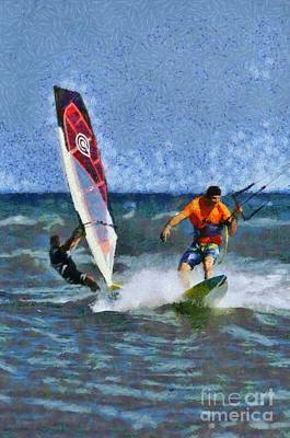 Painting - Kite Surfing And Windsurfing On A Windy Day by George Atsametakis