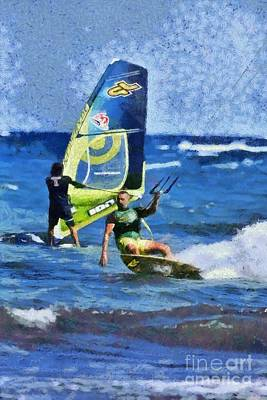 Painting - Kite Surfing And Windsurfing On A Windy Day I by George Atsametakis