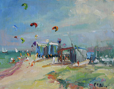 Wall Art - Painting - Kite Surfing by Kathryn McMahon