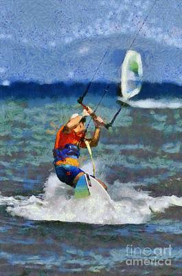 Painting - Kite Surfing On A Windy Day by George Atsametakis