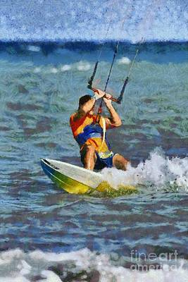 Painting - Kite Surfing On A Windy Day I by George Atsametakis