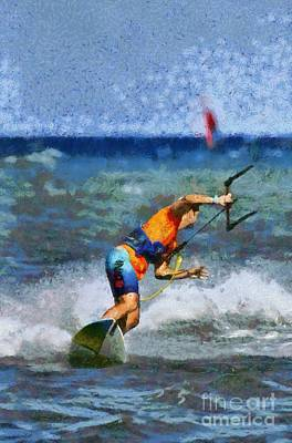 Painting - Kite Surfing On A Windy Day II by George Atsametakis