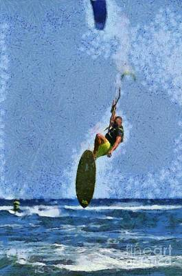 Painting - Kite Surfing On A Windy Day Iv by George Atsametakis