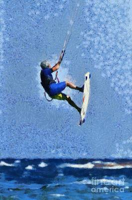 Painting - Kite Surfing On A Windy Day V by George Atsametakis
