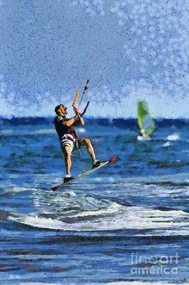 Painting - Kite Surfing On A Windy Day Vi by George Atsametakis