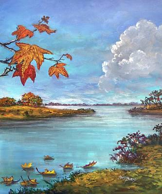 Painting - Kites, Clouds And Sailboats by Randy Burns
