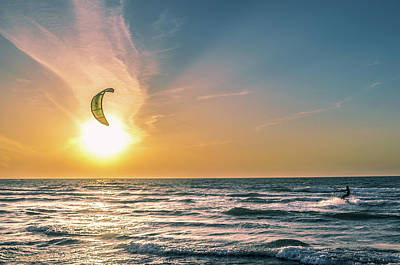 Photograph - Kitesurfing At Sunset by Michael Goyberg