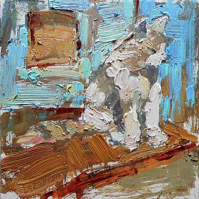 Painting - Kitten near the blue door by Valerie Lazareva