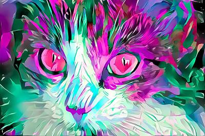 Surrealism Royalty-Free and Rights-Managed Images - Kitty Love Pink Eyes by Don Northup