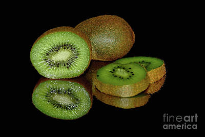 Photograph - Kiwi Fruit Reflecting On Black By Kaye Menner by Kaye Menner