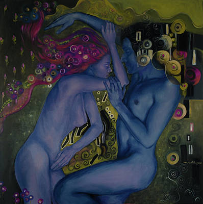 Loving Couple Wall Art - Painting - Klimtian Romance II by Dorina Costras