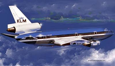 Wall Art - Painting - Klm Dc-10 by Peter Ring Sr