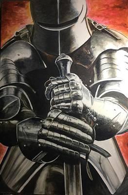 Painting - Kneeling Knight by David Rhys