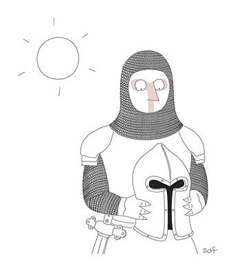 Drawing - Knight In The Sun by Seth Fleishman