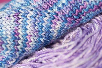 Blue Hues - Knitting Hobbies Series. Purple Pastel Yarn And Knit 1 by Jenny Rainbow