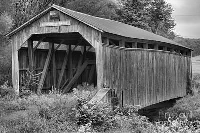 Photograph - Kochenderfer Covered Bridge Black And White by Adam Jewell