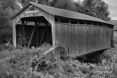 Photograph - Kochenderfer Covered Bridge Lush Landscape Black And White by Adam Jewell