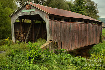 Photograph - Kochenderfer Covered Bridge Lush Landscape by Adam Jewell