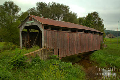Photograph - Kochenderfer Covered Bridge Over Big Buffalo Creek by Adam Jewell